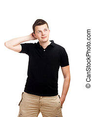 Thinking young man isolated on white background