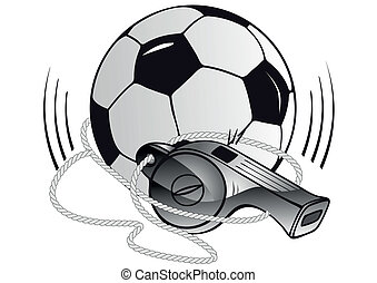 Soccer ball and whistle