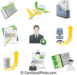 Vector recruiting icon set - Set of employment related icons