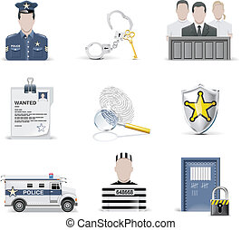 Vector law and order icon set. P.2 - Set of juridical...