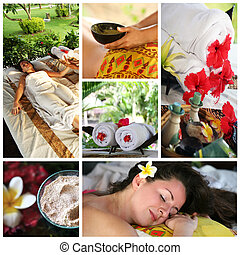 Massage - Collage from 6 photos of massage interior to Bali...