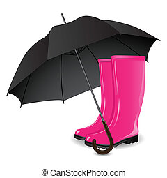 A pair of rainboots and an umbrella on a white background....