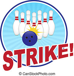 Bowling illustration with strike