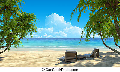 Two beach chairs on idyllic tropical white sand beach