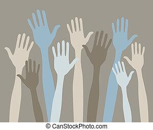 Volunteering hands.