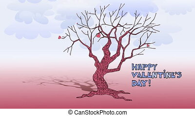 Love tree - Tree with opening leaves heart-shaped, clouds at...