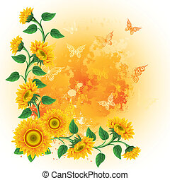 Background with sunflowers - Orange background with...