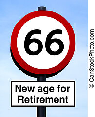66 new age for retirement roadsign against a blue sky...