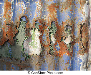 Rusty old corrugated iron - Old pealing paint on a rusty...