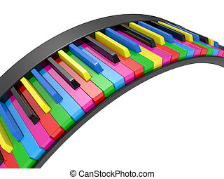 3d illustration Multi-coloured piano keys - Close up 3d...