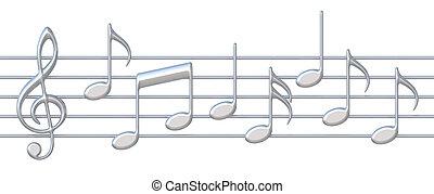 Music notes on staves - 3D music notes on staves on a white