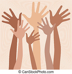 Happy hands in skin tones - Happy hands in skin tones design...