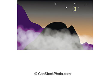 View of the mountains in night.