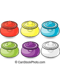 Cartoon colorful casserole. Illustration for design on white...