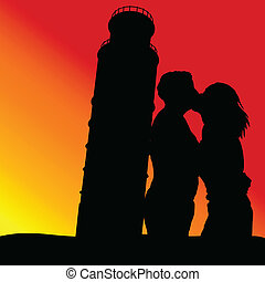 leaning tower and black couple kiss