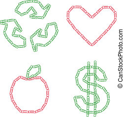 Paperclip designs - A set of designs made with paperclips.
