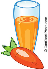 A delicious carrot juice. Illustration on white background