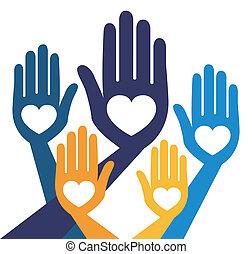 útil, unidas, mãos, vetorial