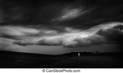 black and white image of a storm - dark black and white...