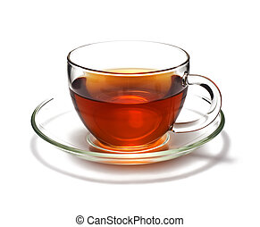 Cup of black tea Isolated on white background
