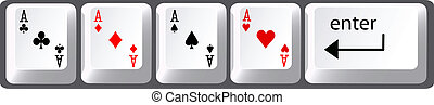 Four aces poker hand computer keyboard keys - Four aces...