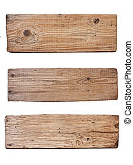 old wooden board isolated on white background - Old plank of...