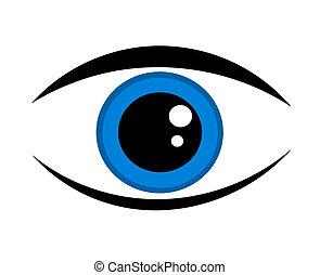 azul, olho, ícone