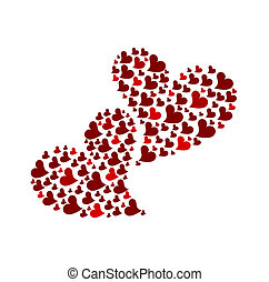 Two Hearts - Two red hearts made of small hearts isolated...