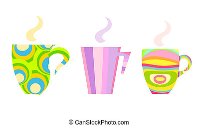 Colorful mugs - Three colorful mugs with steaming tea or...