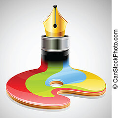 ink pen as symbol of visual art vector illustration