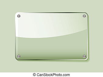 Green glass name tag