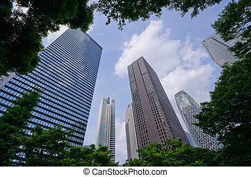 Tokyo, Japan - Skyscrapers at Nishi-Shinjuku in Tokyo, Japan...