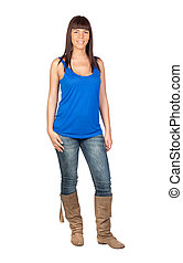 Beautiful girl with jeans isolated on a over white...