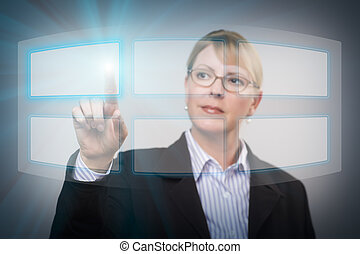 Woman Pushing an Interactive Touch Screen