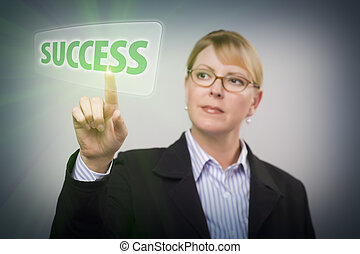 Woman Pushing Success Button on Interactive Touch Screen -...