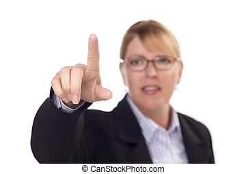 Businesswoman Reaching Out with Finger