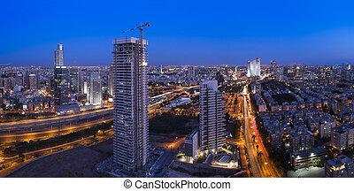 Cityscape - Night city, Tel Aviv at sunset, Israel This...