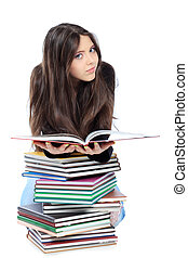 education - Portrait of a girl teenager reading book....