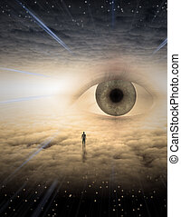 Eye of god - Tiny man in dreamlike landscape made of clouds