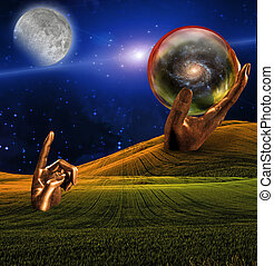 Surreal Landscape with human hand sculpture pointing at moon