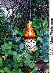 gnomo, en, jardín
