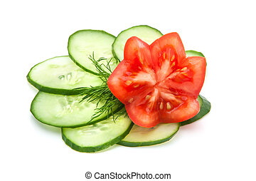 beautifully sliced tomato and cucumber - slices of cucumber...