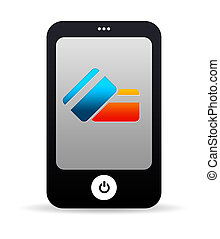 Mobile Phone with Credit Card Icons - High resolution cell...