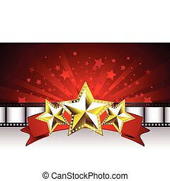 Background with Golden Stars on the Red Banner and Film...