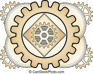 Steampunk Abstract Gear Ornament Lo - Brass gear layered...