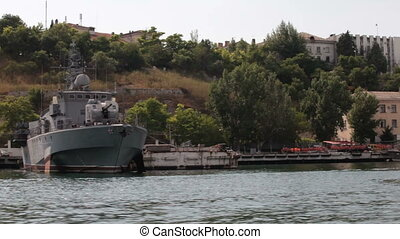 military ships in the bay of Sevastopol. View of the bay...