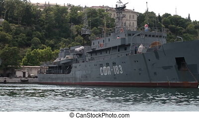 military ship in bay of Sevastopol