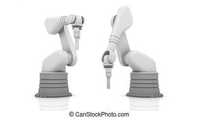 Industrial robotic arms building news word isolated on white...