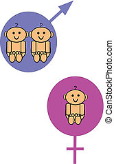 twins - birth announcement for boy twins and girl with...