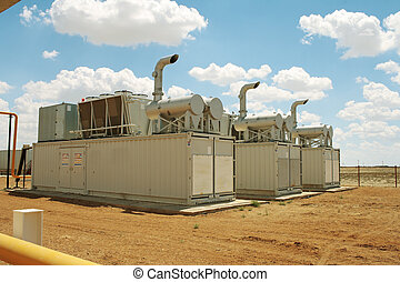 Gas compressors - Gas compressor packages, heat sinks on top...
